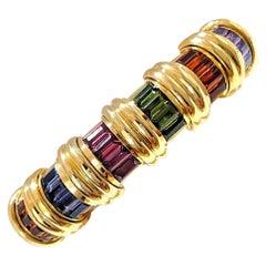Jeffrey Stevens 18 Karat Yellow Gold Rainbow Semi Precious Cuff Bracelet