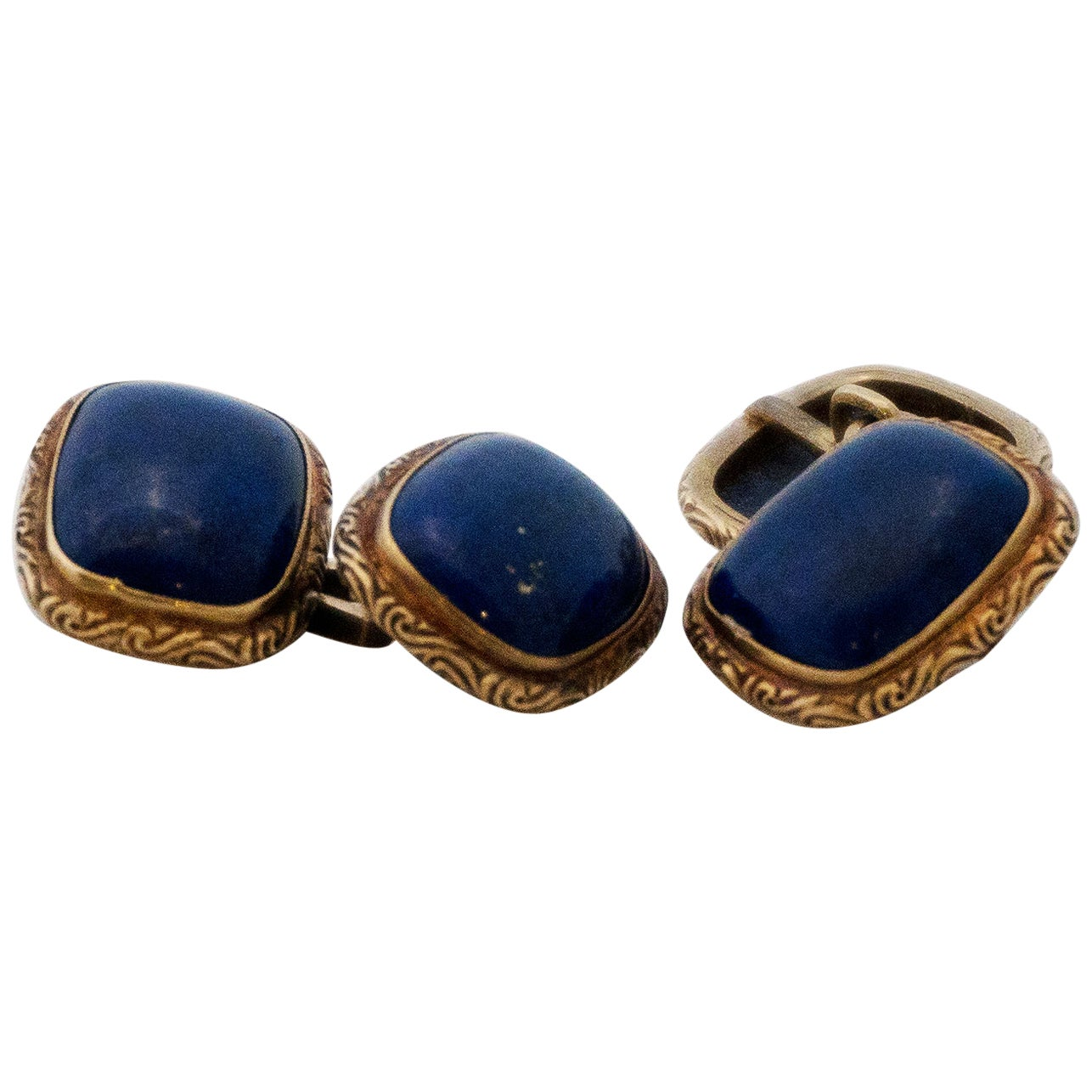 Golden Cufflinks with Lapis Lazuli