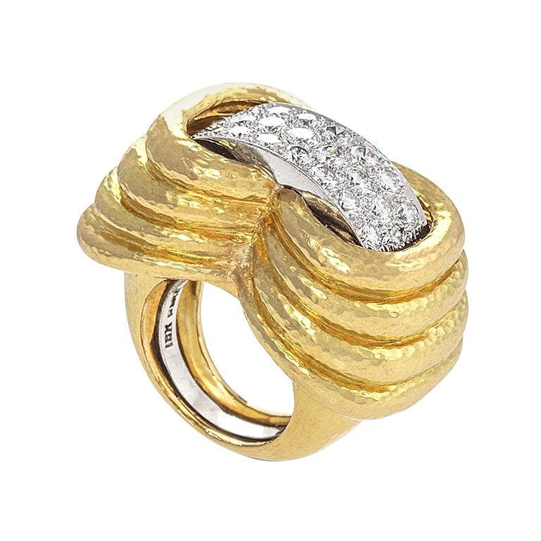 Gold, Platinum and Diamond Ring by David Webb