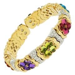 Multi-Color Gemstones and Diamond Flowers Yellow Gold Bracelet