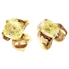 18 Karat Gold Clip-On Earrings with 4 Carat GIA Certified Fancy Yellow Diamonds
