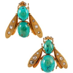 Midcentury Turquoise and Diamond Bee Brooches