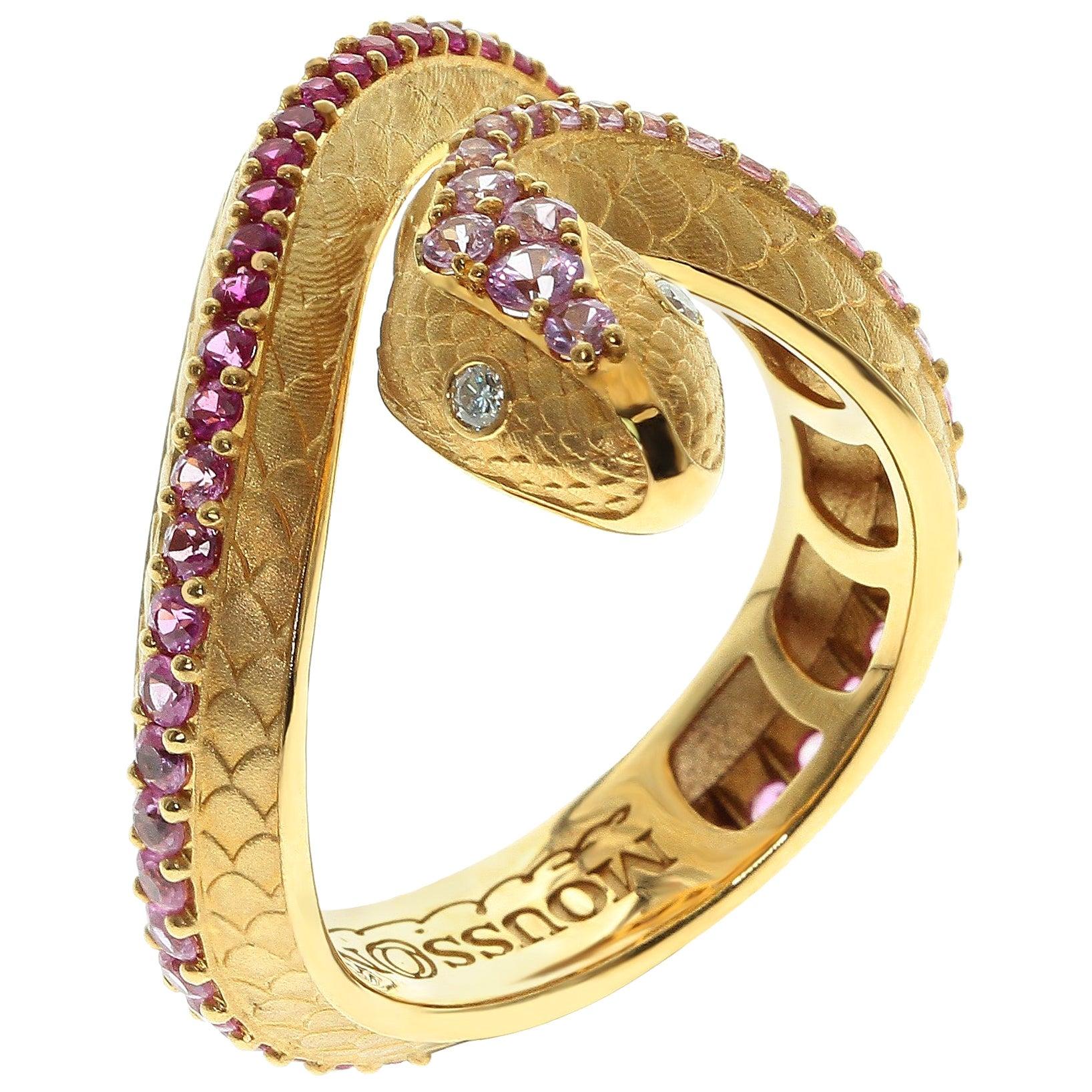 Pink Sapphire Diamonds 18 Karat Yellow Gold Snake Ring