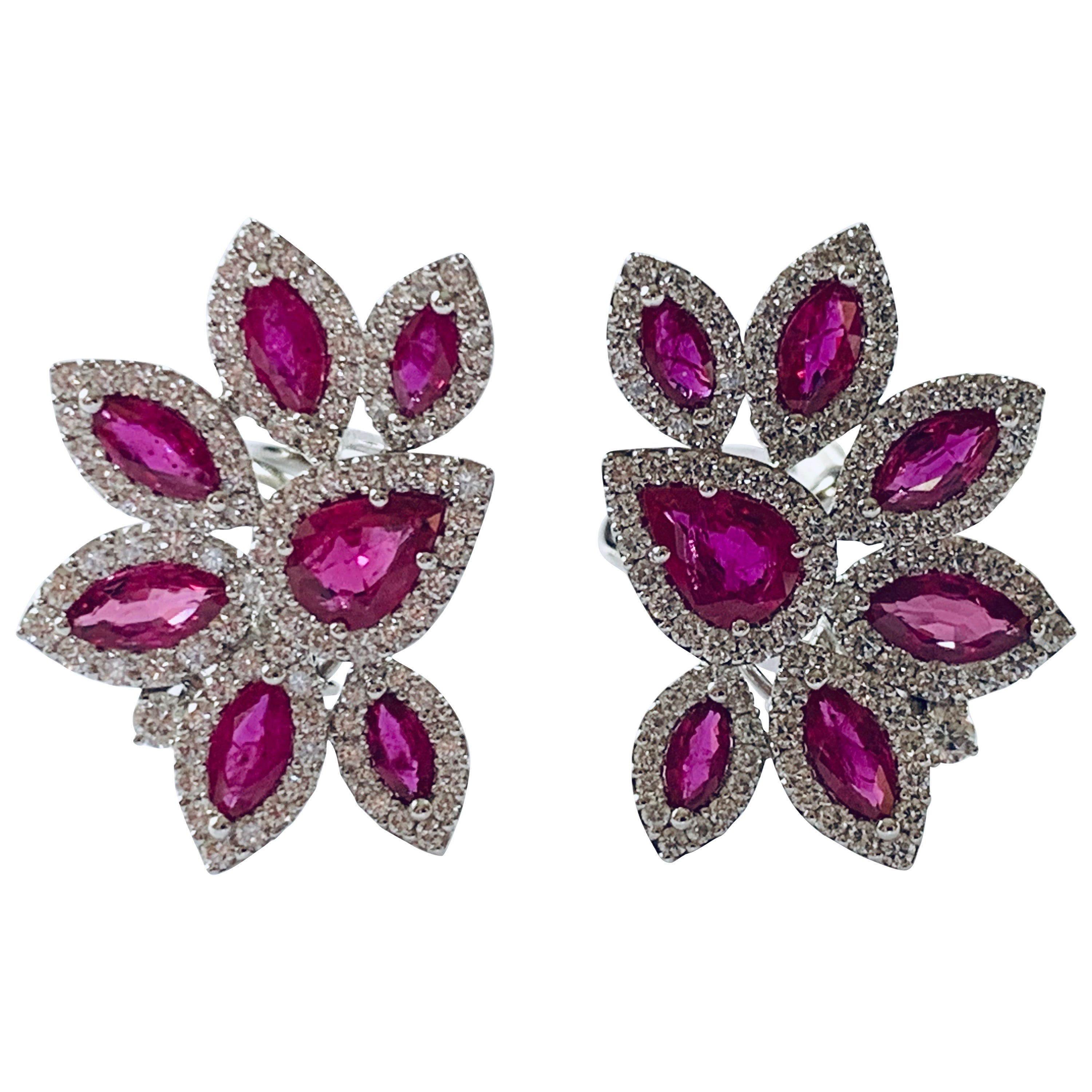 Elegant and Classy 18 Karat White Gold Ruby and Diamond Cluster Earrings