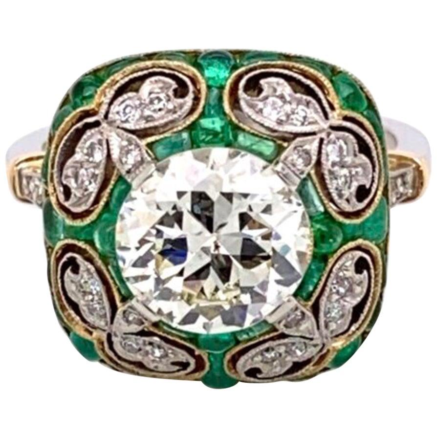 Emerald and Diamond Art Deco Style Platinum Engagement Ring Fine Estate Jewelry