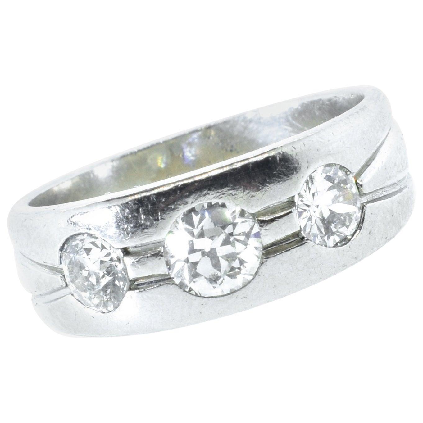 Platinum and Diamond Band Ring, Art Deco, circa 1935