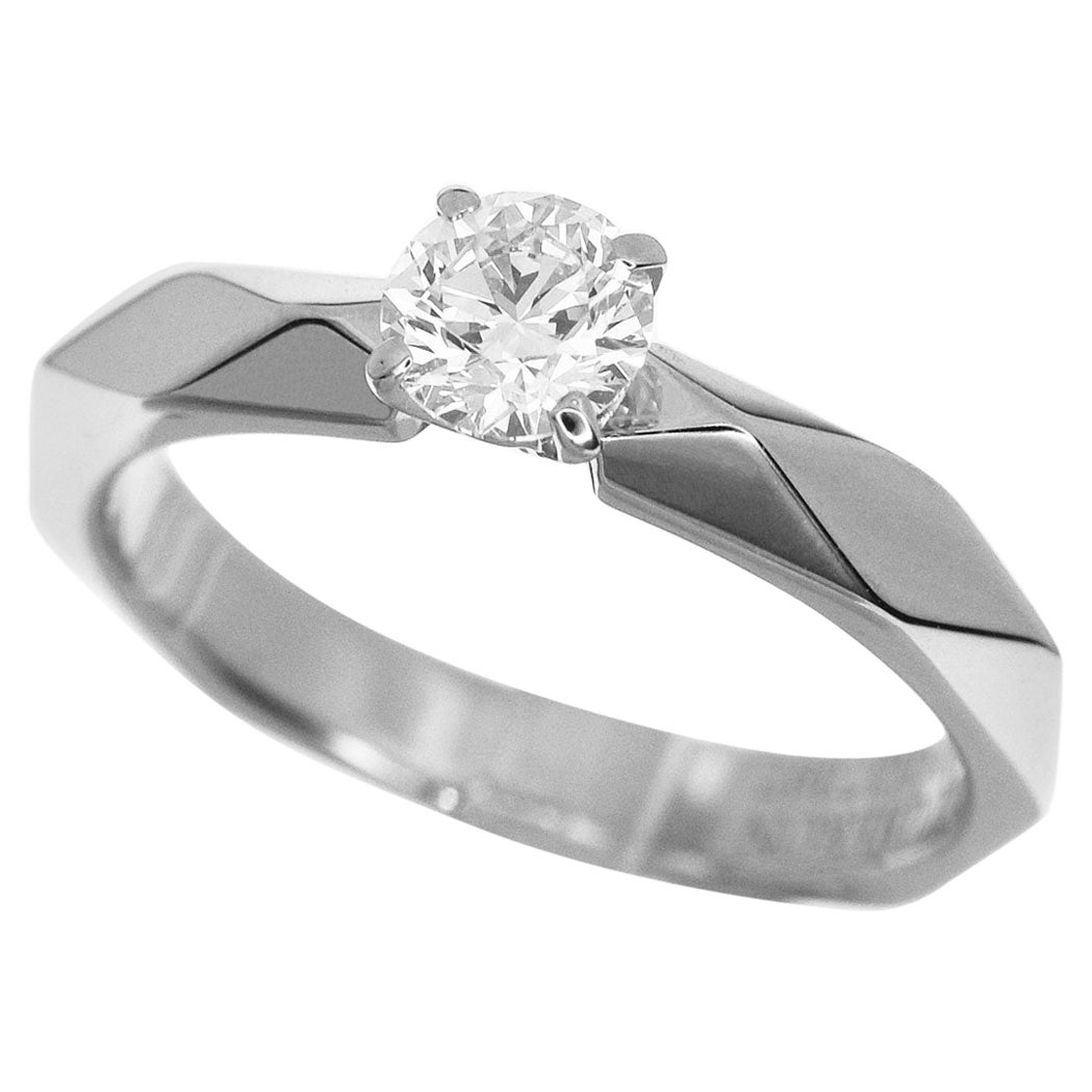 Boucheron 0.31 Carat Diamond Platinum Facet Solitaire Ring