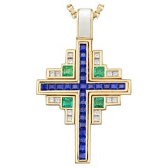 1980s 1.75 Carat Sapphire 1 Carat Emerald and Diamond Yellow Gold Cross Pendant