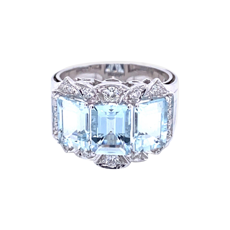 Aquamarine Diamond Gold Three-Stone Band Ring