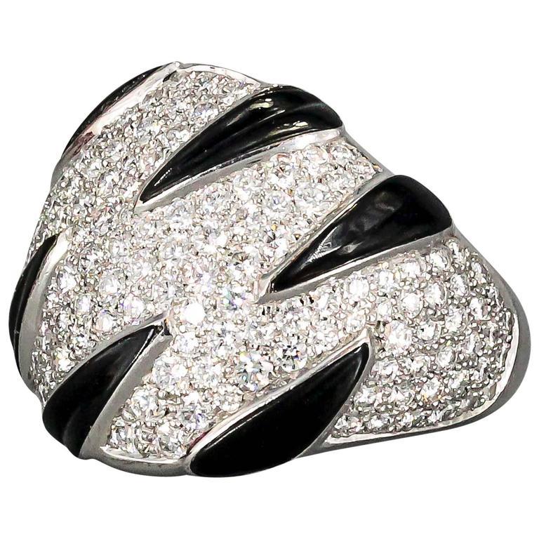 Cartier Onyx Diamond Gold Ring 1