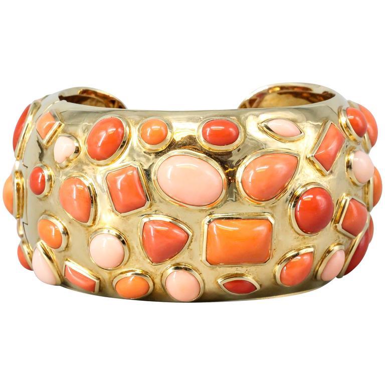 Seaman Schepps 1950s Coral Gold Cuff Bracelet For Sale