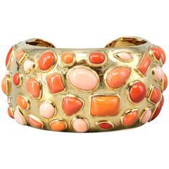 Seaman Schepps 1950s Coral Gold Cuff Bracelet