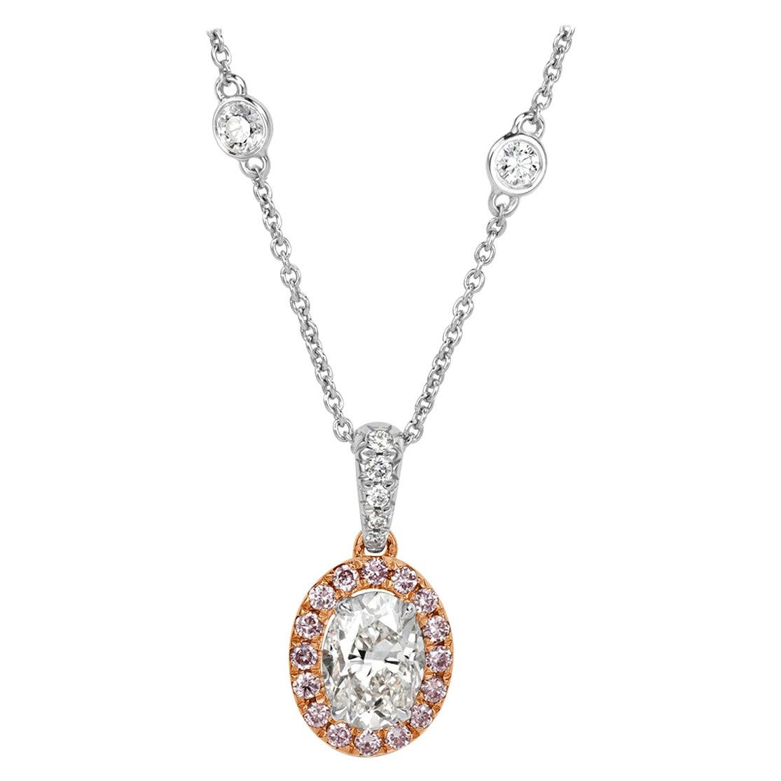 Mark Broumand 1.60 Carat Oval Cut Fancy Pink Diamond Halo Pendant
