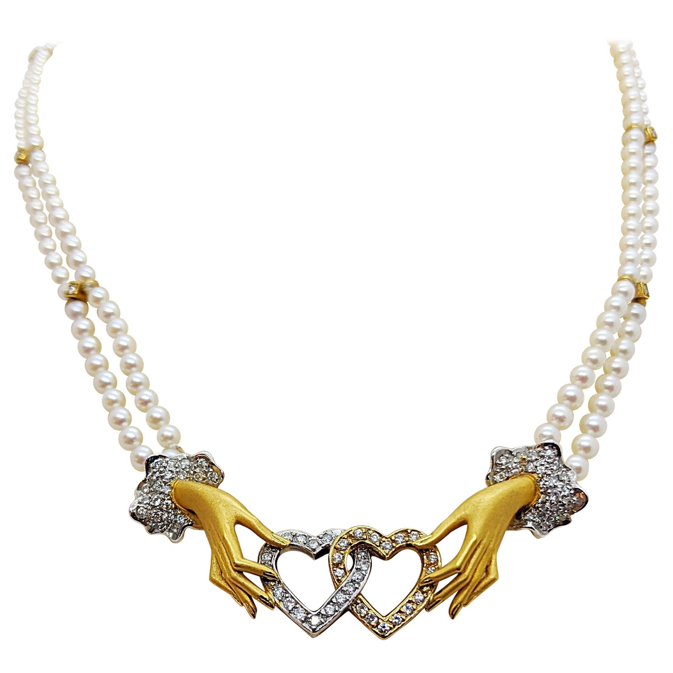 Carrera Y Carrera 18 Karat Yellow Gold and Pearl Necklace in Original Hand Motif