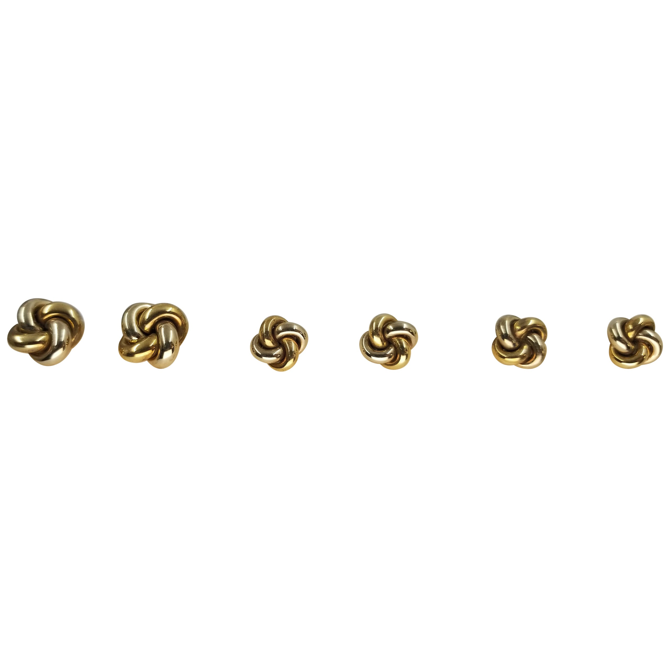 14 Karat White and Yellow Gold Knot Cufflinks and Tuxedo Studs