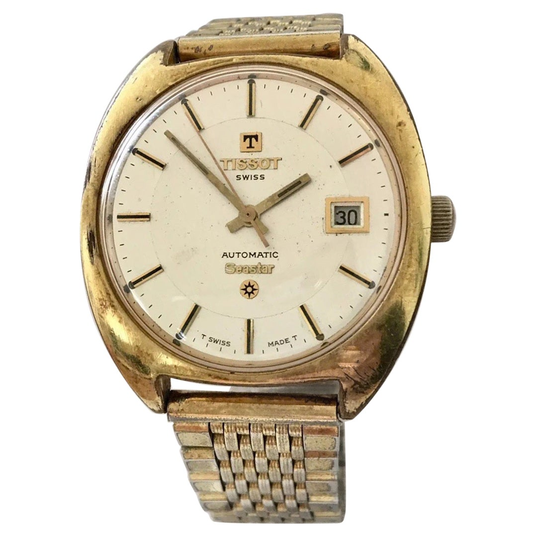 1970s Vintage Gold-Plated Stainless Steel Tissot Automatic Seastar