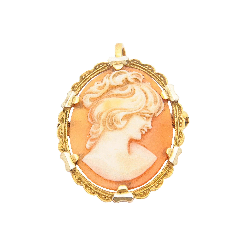 18 Karat Gold Cameo Shell Pendant Brooch