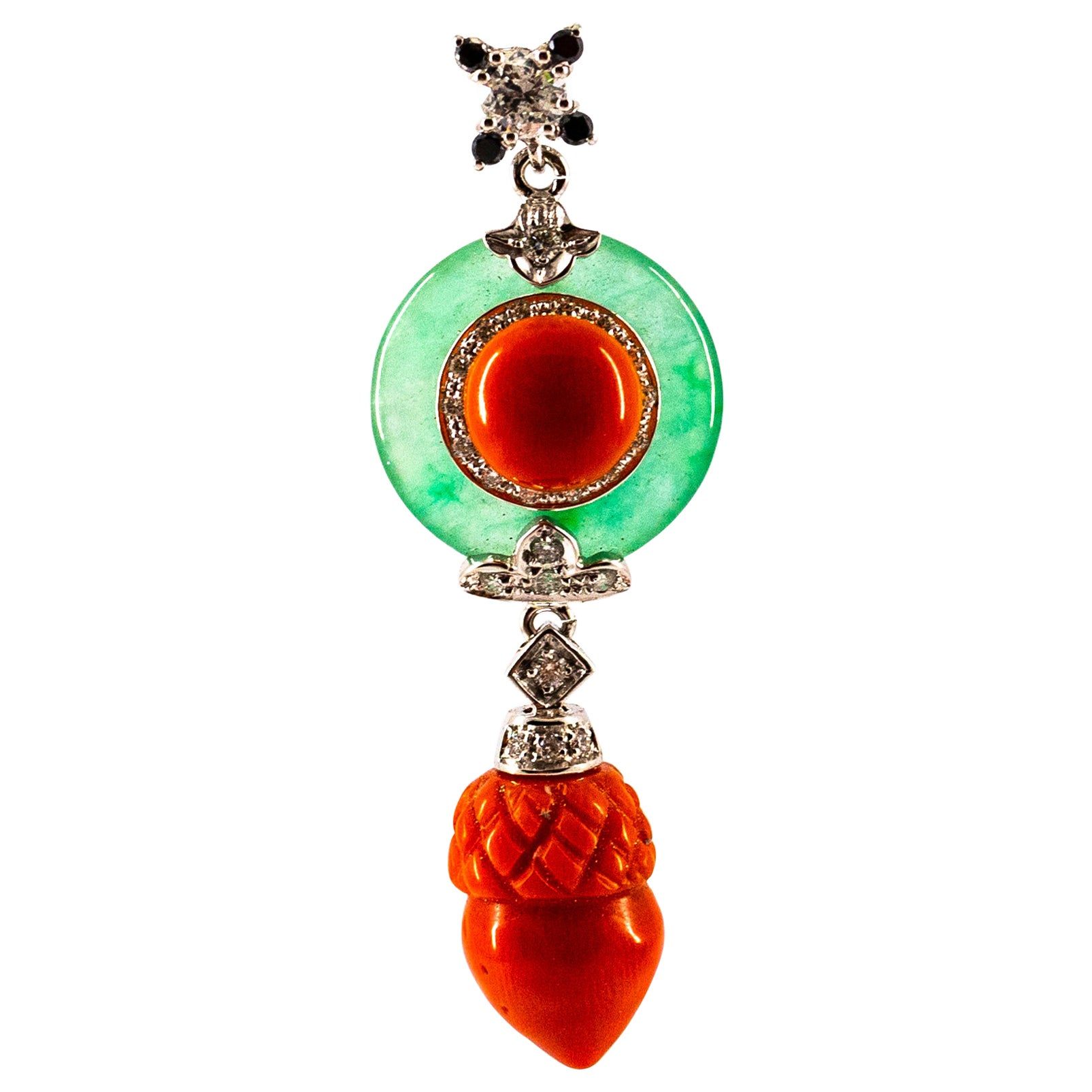 Mediterranean Red Coral 0.42 Carat White Black Diamond Jade White Gold Necklace