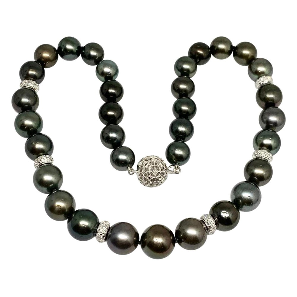 "Diamond Tahitian Pearl 18k Gold Necklace 13.25 mm 17"" Certified"