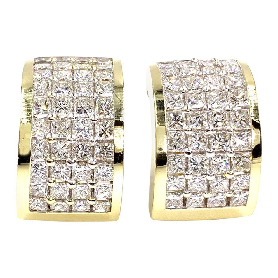 18 Karat Princess Cut Diamond Wide Hoop Earrings
