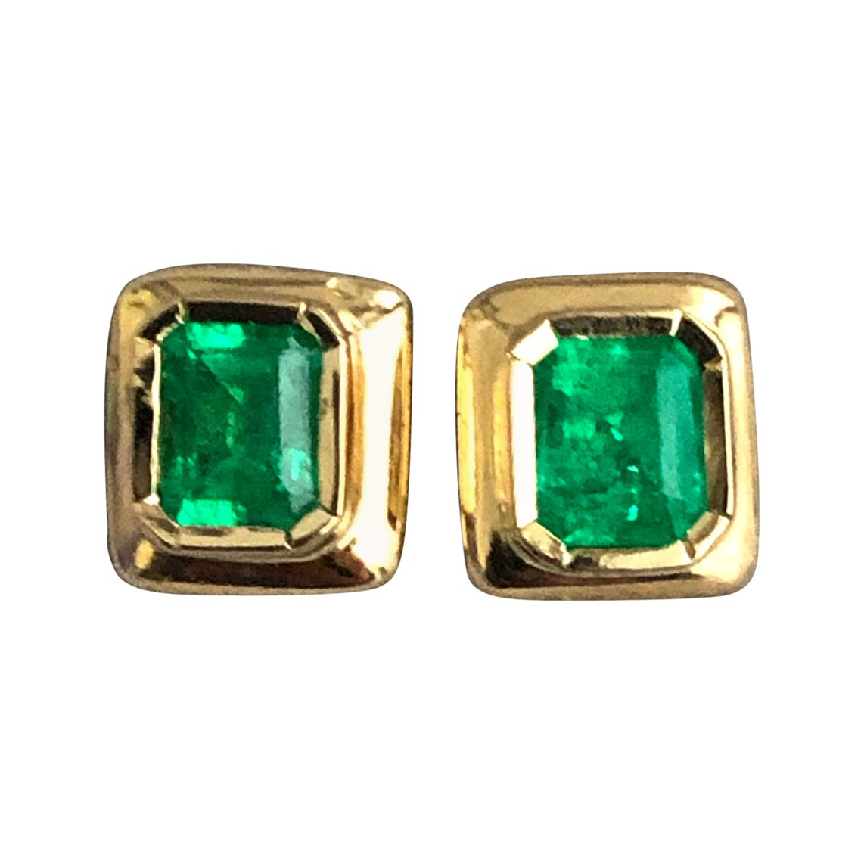 Elegant Stud Earrings Emerald Cut Colombian Emerald 18 Karat