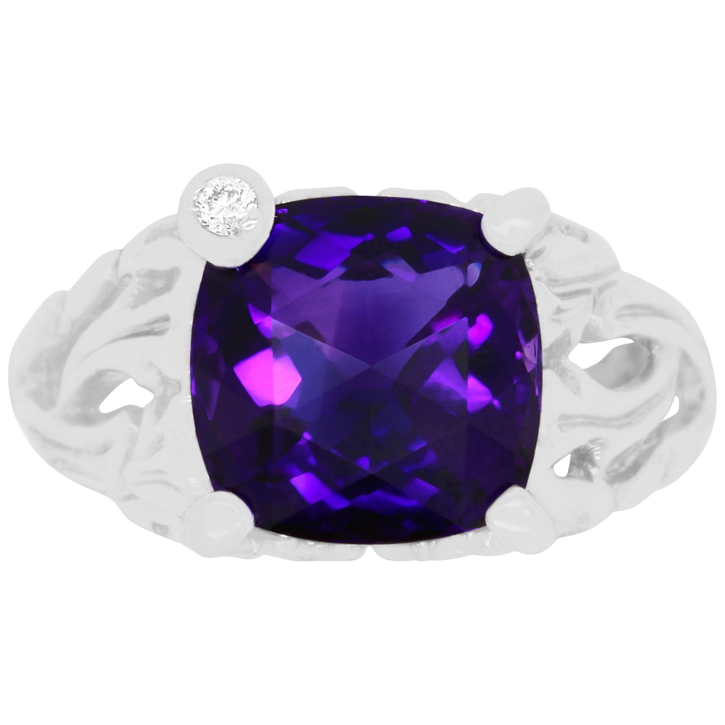 4.60 Carat Cushion Cut Amethyst and Round Diamond Cocktail Ring 14K White Gold