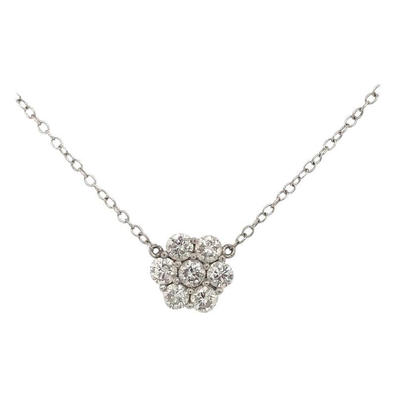 Diamond Cluster Floral Pendant Necklace 0.79 Carat 18 Karat White Gold