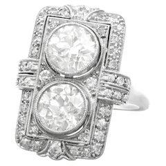 Antique French 1920s Art Deco 4.84 Carat Diamond Platinum Cocktail Ring