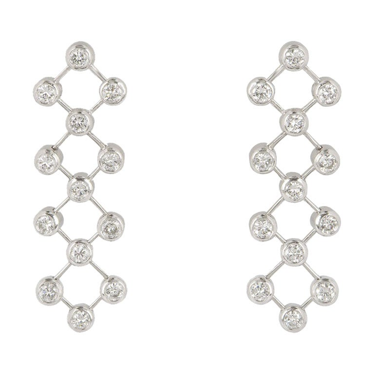 Tiffany & Co. Platinum Diamond Drop Earrings