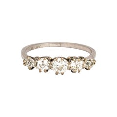 Edwardian Diamond and Platinum Five-Stone Ring