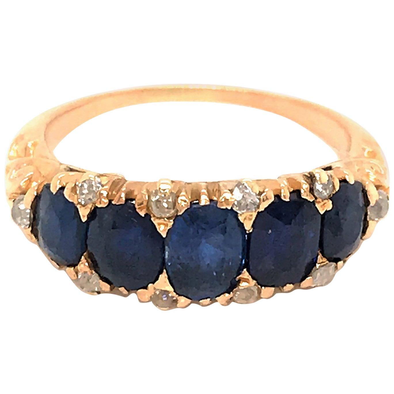 18 Karat Yellow Gold Sapphire and Diamond Antique Ring