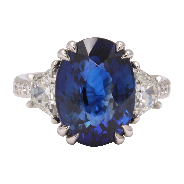 8 Carat Vivid Blue Sapphire and Diamond Ring