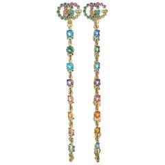 Gucci GG Running 18K Yellow Gold Sapphire, Tsavorite and Quartz Earrings