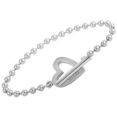 Gucci Silver Toggle Heart Bracelet Size 17
