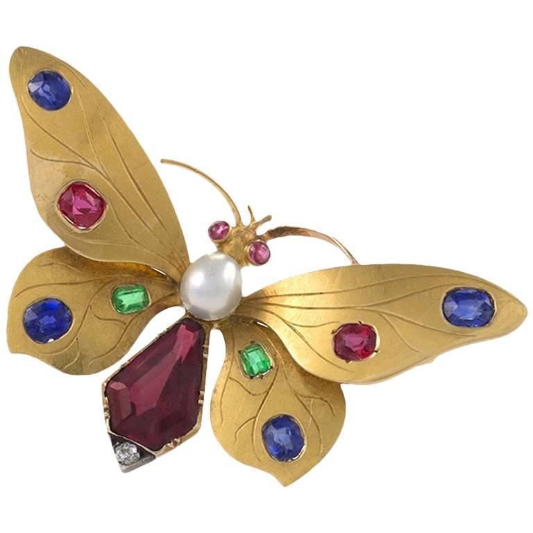 Austrian Art Nouveau Jeweled Butterfly Brooch