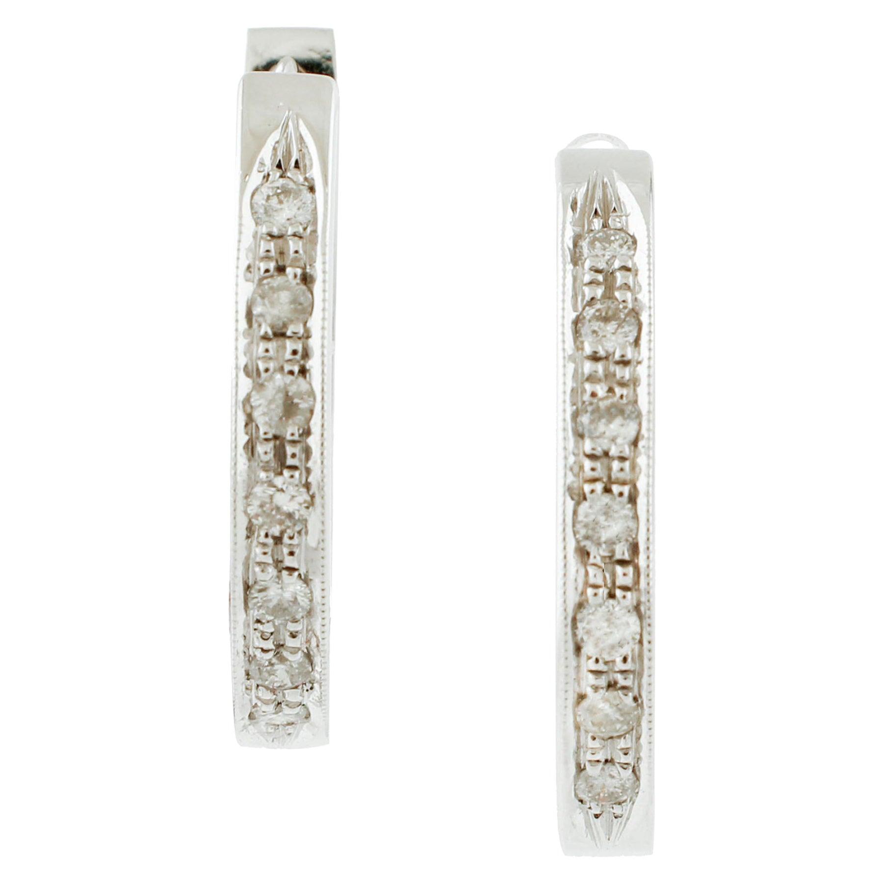 White Diamonds, 18 Karat White Gold Modern Style Hoop Earrings