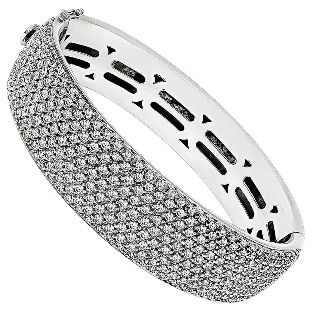 White Gold 9 Carat Diamond Bangle Bracelet