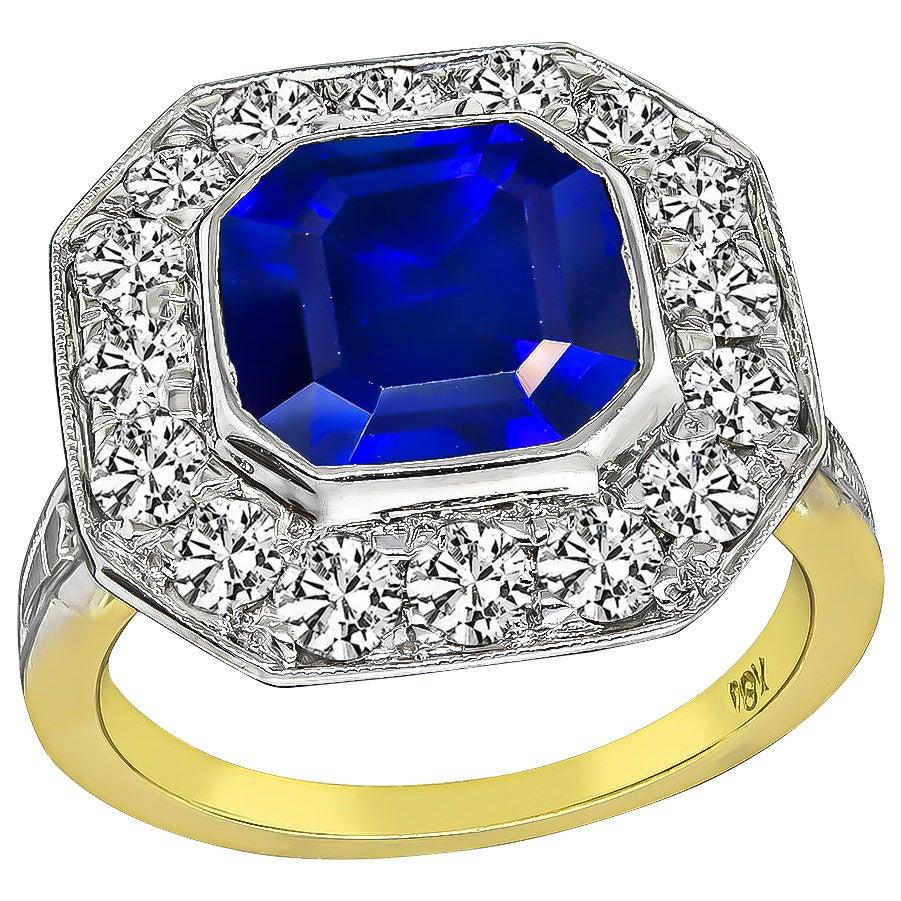 3.69 Carat Sapphire Diamond Gold Ring