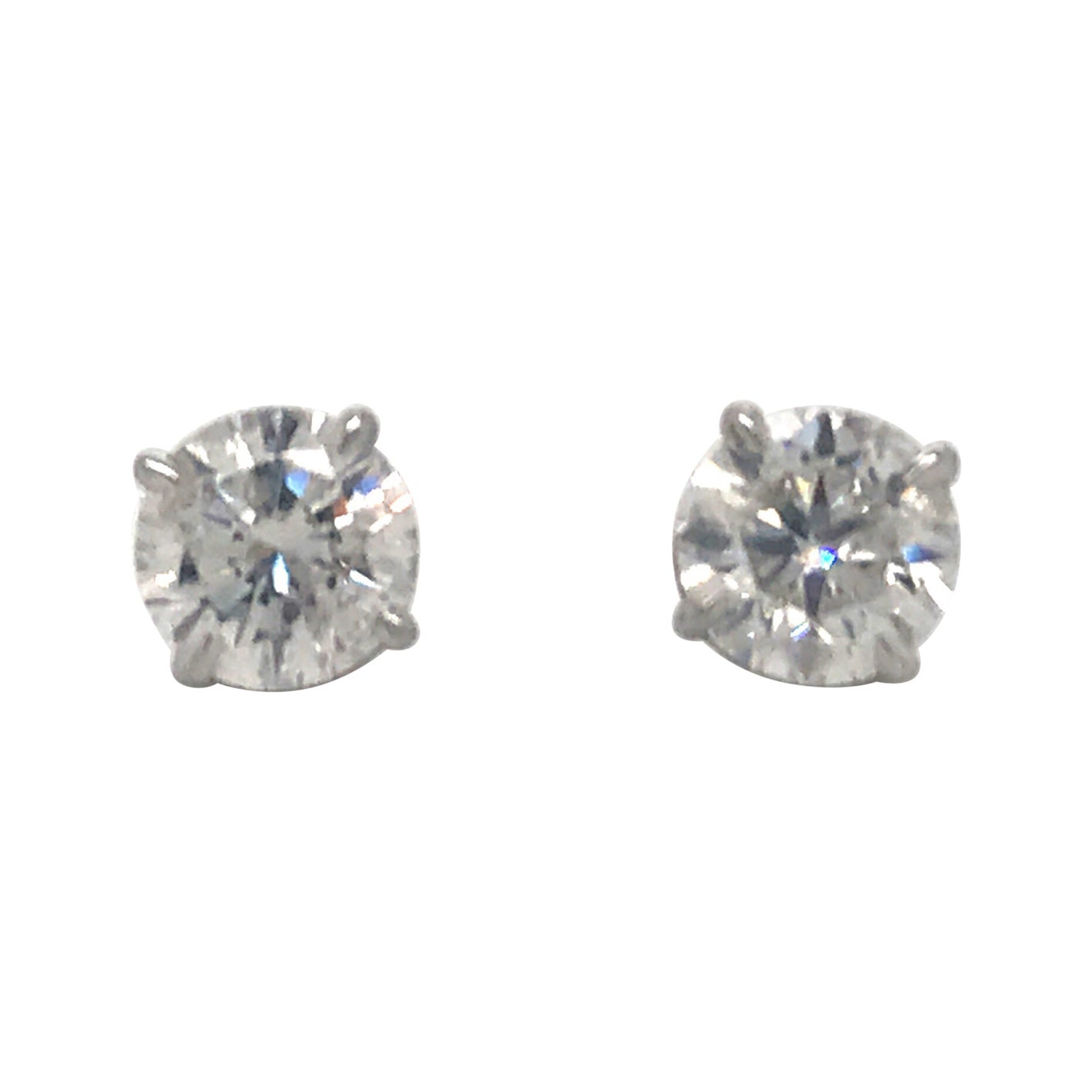 Diamond Stud Earrings 3.01 Carat H-I I1 14 Karat White Gold