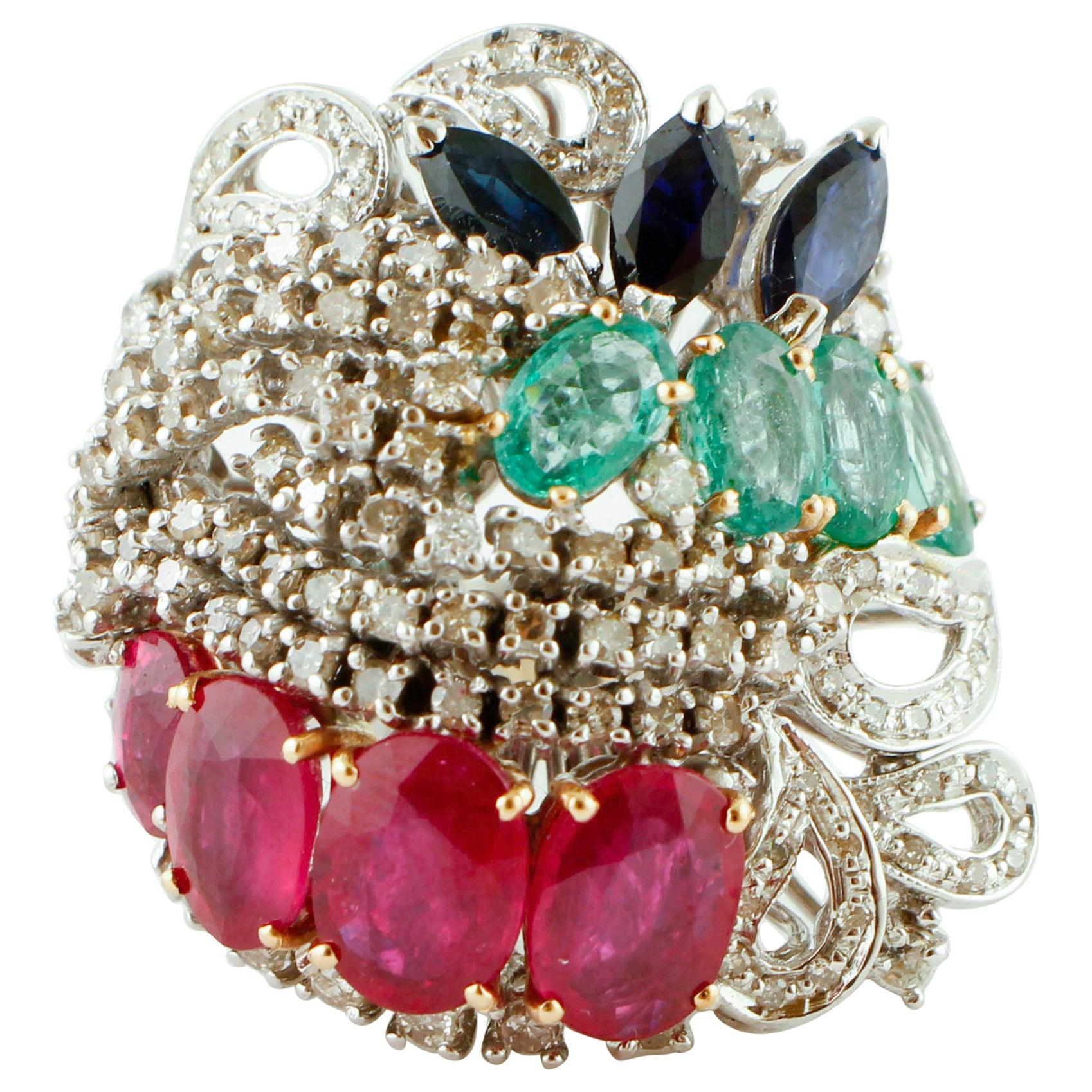Oval Rubies, Oval Emeralds, Navette Blue Sapphires, Diamonds, 18 Karat Gold Ring