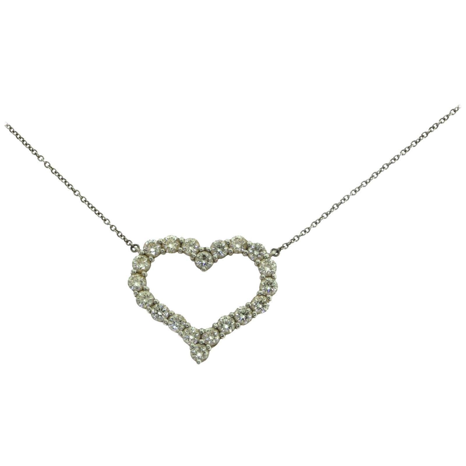 Tiffany & Co. Large Diamond Heart Platinum Pendant Necklace