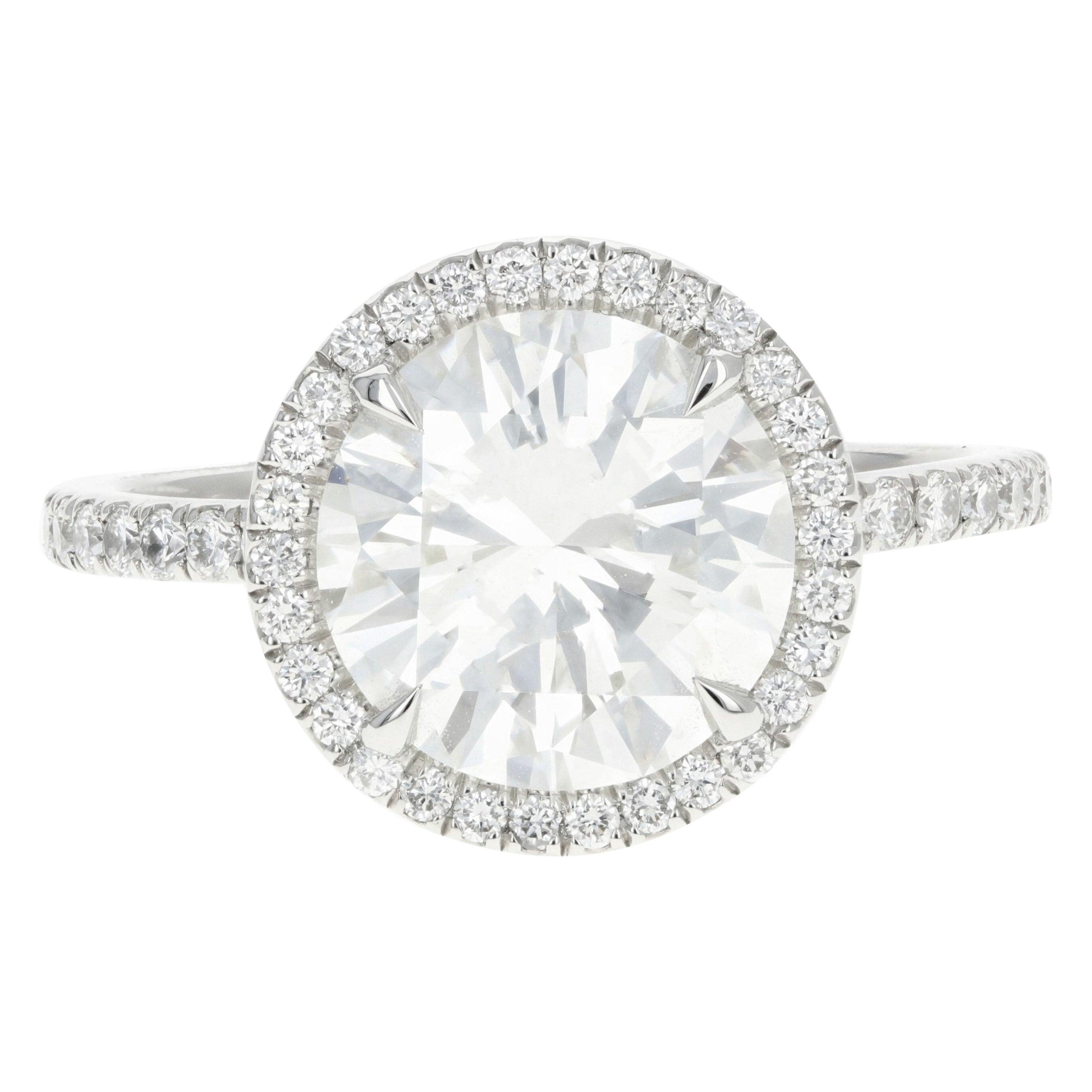 Platinum 3.01 Carat Round Brilliant Cut Diamond Halo Engagement Ring