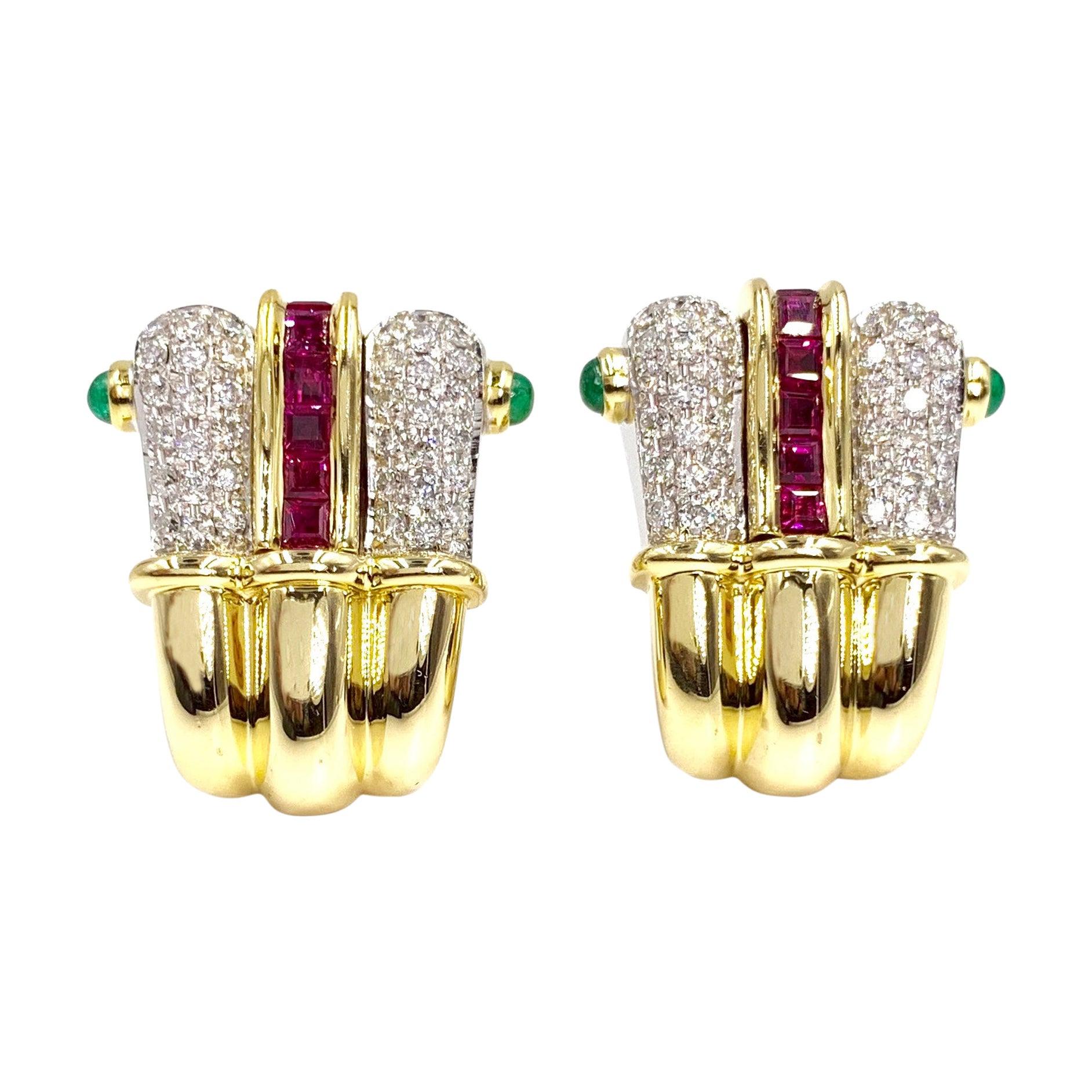 18 Karat Ruby, Diamond and Emerald Earrings