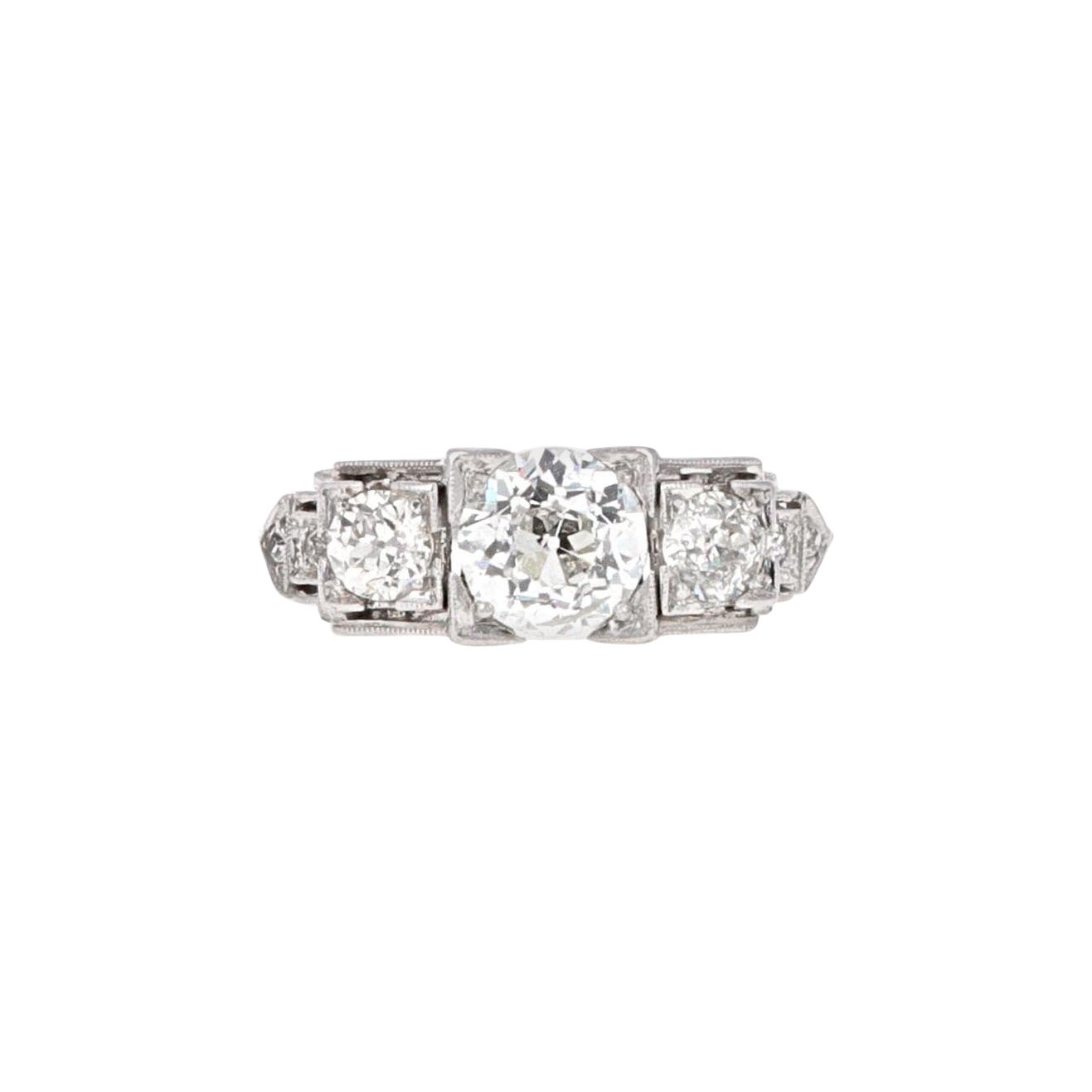 Platinum Art Deco Three-Stone Diamond Ring