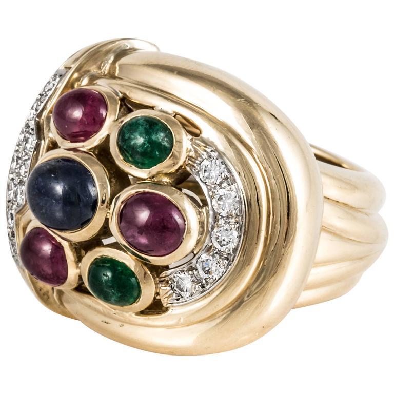 David Webb Gemstone Diamond Gold Platinum Cocktail Ring