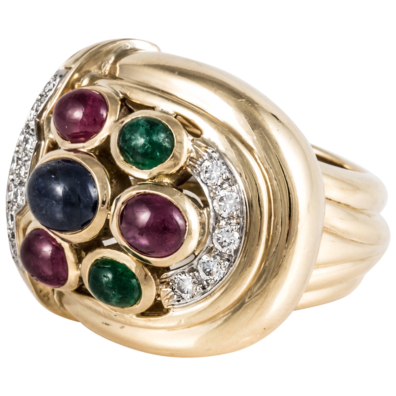 David Webb 18K Yellow Gold Gemstone and Diamond Ring