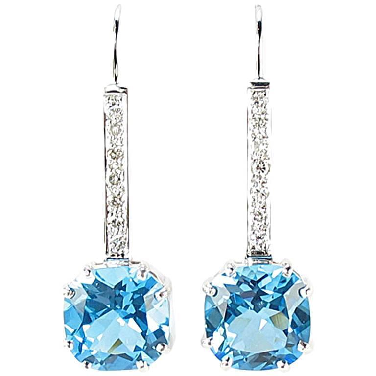 Cushion Cut Blue Topaz Diamond Gold Drop Earrings For