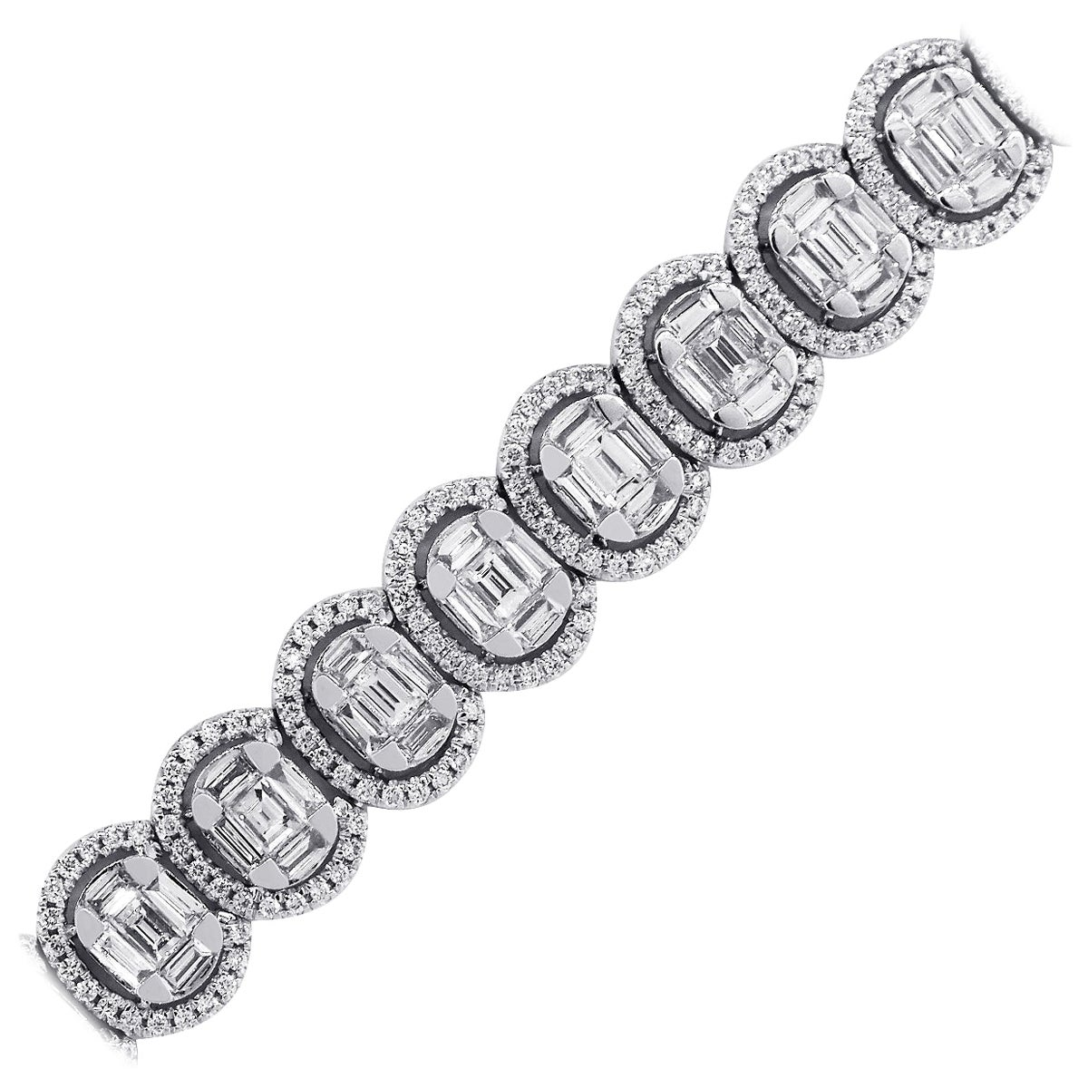 Oval Halo Diamond Bracelet