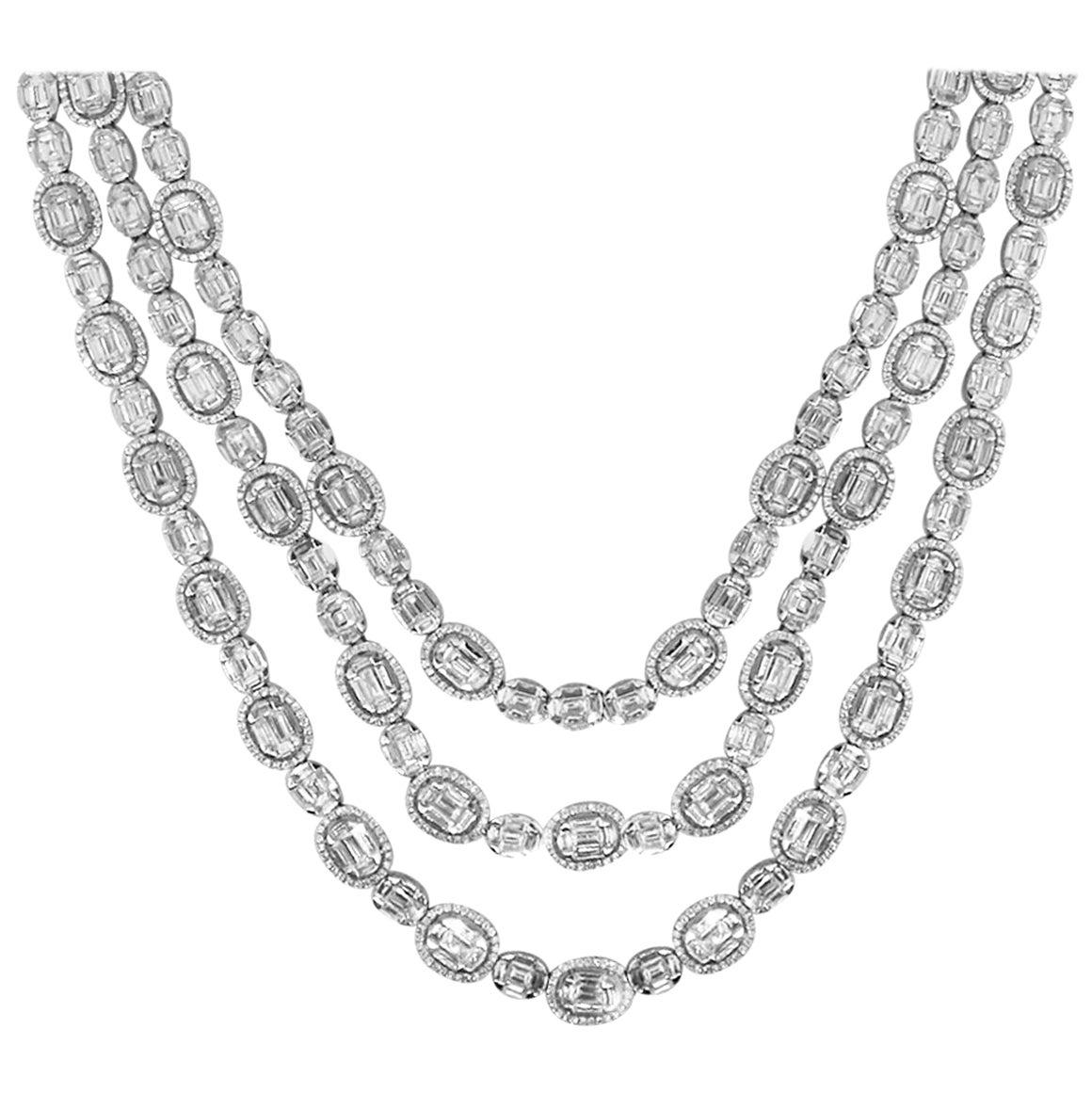 Triple Strand Halo Diamond Necklace