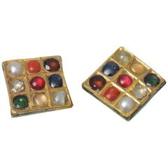 1940s Nava Ratna Enamel Precious Gemstone and 22 Karat Gold Earrings